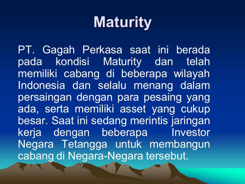 Maturity PT. Gagah Perkasa saat ini berada pada kondisi Maturity dan telah memiliki cabang di beberapa wilayah Indonesia dan selalu menang dalam persa