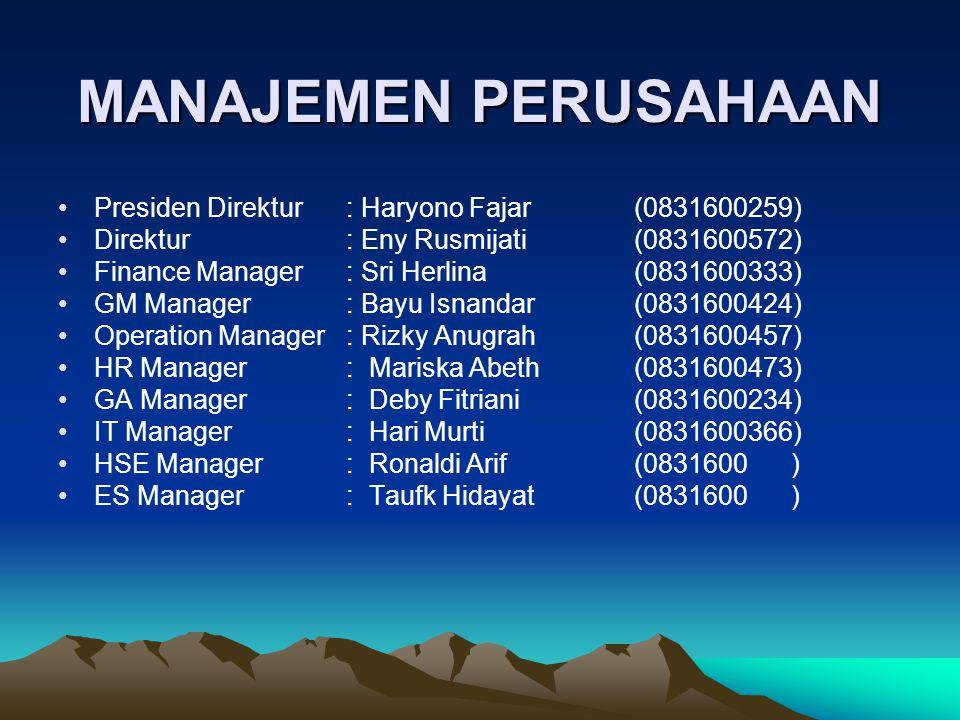 MANAJEMEN PERUSAHAAN Presiden Direktur: Haryono Fajar (0831600259) Direktur: Eny Rusmijati (0831600572) Finance Manager : Sri Herlina (0831600333) GM