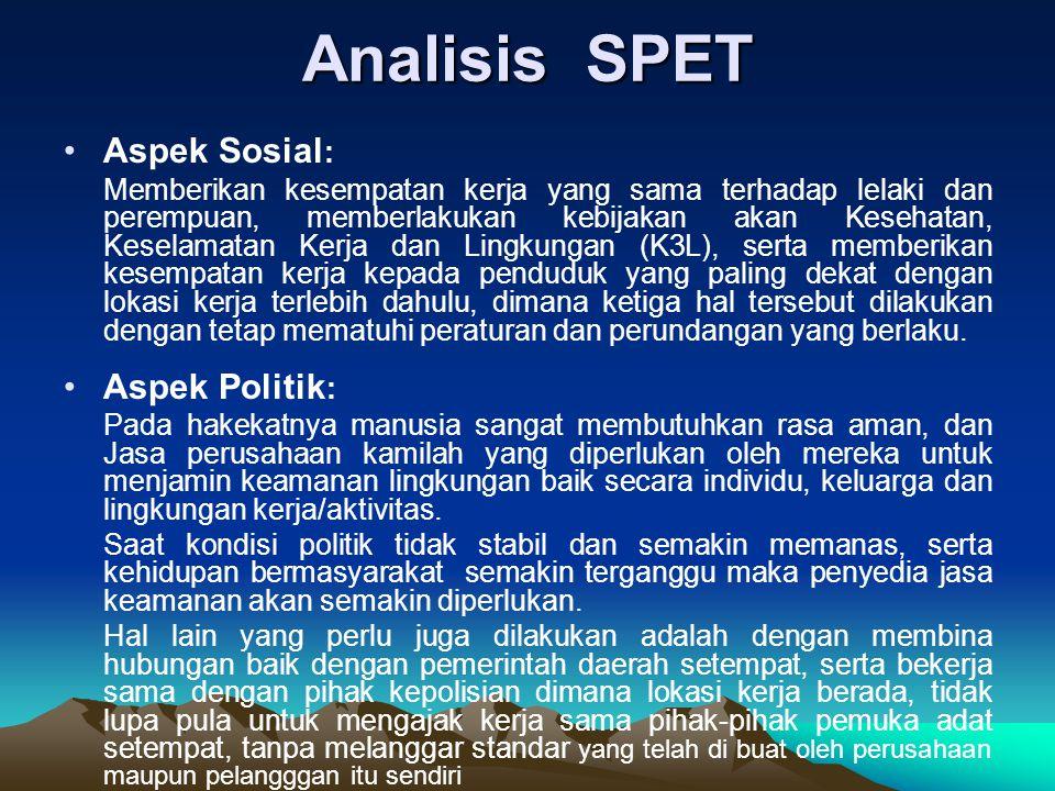 Analisis SPET (lanjutan) Aspek Ekonomi : Dengan terciptanya lingkungan kerja yang aman, nyaman dari sautu wilayah, maka perekonomian akan tumbuh dan berkembang dengan baik.
