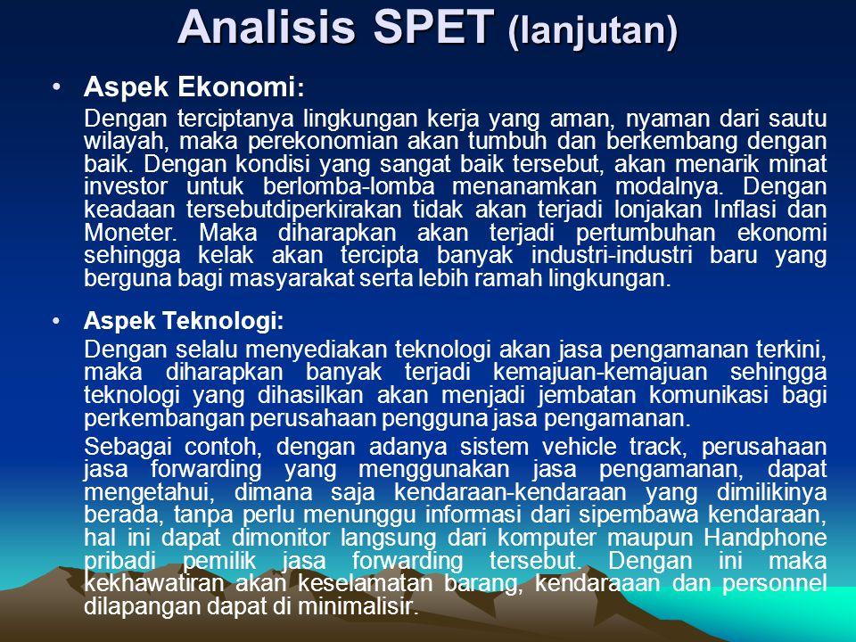 Analisis SPET (lanjutan) Aspek Ekonomi : Dengan terciptanya lingkungan kerja yang aman, nyaman dari sautu wilayah, maka perekonomian akan tumbuh dan b