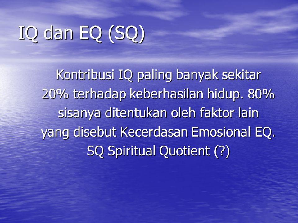 IQ dan EQ (SQ) Kontribusi IQ paling banyak sekitar 20% terhadap keberhasilan hidup.