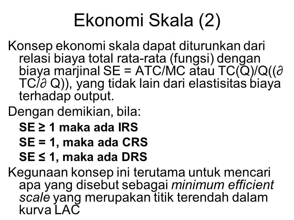 Ekonomi Skala (2) Konsep ekonomi skala dapat diturunkan dari relasi biaya total rata-rata (fungsi) dengan biaya marjinal SE = ATC/MC atau TC(Q)/Q((∂ T