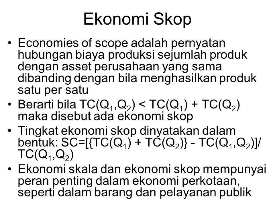 Ekonomi Skop Economies of scope adalah pernyatan hubungan biaya produksi sejumlah produk dengan asset perusahaan yang sama dibanding dengan bila mengh