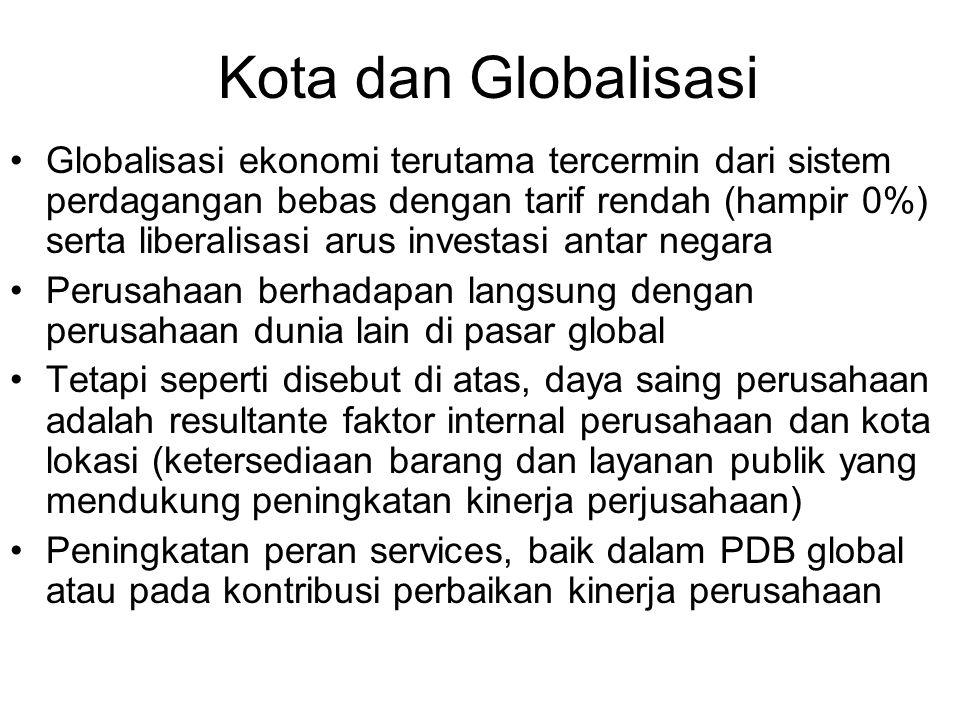 Kota dan Globalisasi Globalisasi ekonomi terutama tercermin dari sistem perdagangan bebas dengan tarif rendah (hampir 0%) serta liberalisasi arus inve