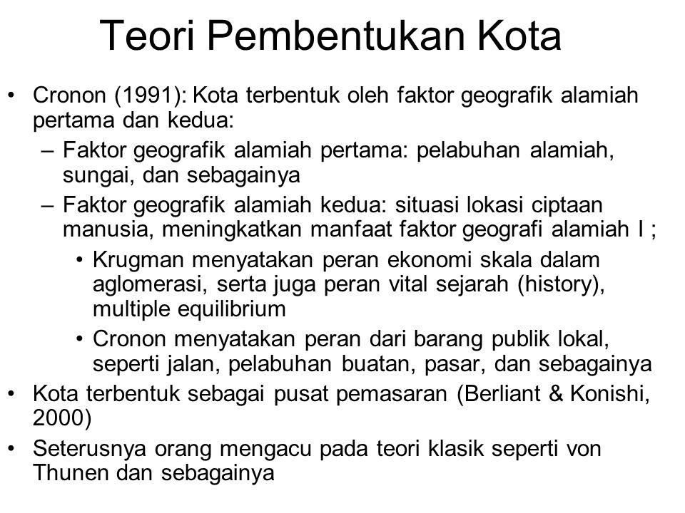 Teori Pembentukan Kota Cronon (1991): Kota terbentuk oleh faktor geografik alamiah pertama dan kedua: –Faktor geografik alamiah pertama: pelabuhan ala