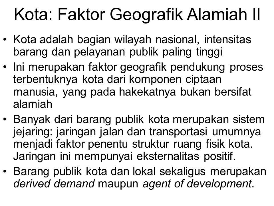 Kota: Faktor Geografik Alamiah II Kota adalah bagian wilayah nasional, intensitas barang dan pelayanan publik paling tinggi Ini merupakan faktor geogr