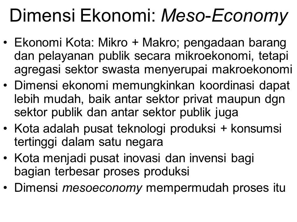 Dimensi Ekonomi: Meso-Economy Ekonomi Kota: Mikro + Makro; pengadaan barang dan pelayanan publik secara mikroekonomi, tetapi agregasi sektor swasta me