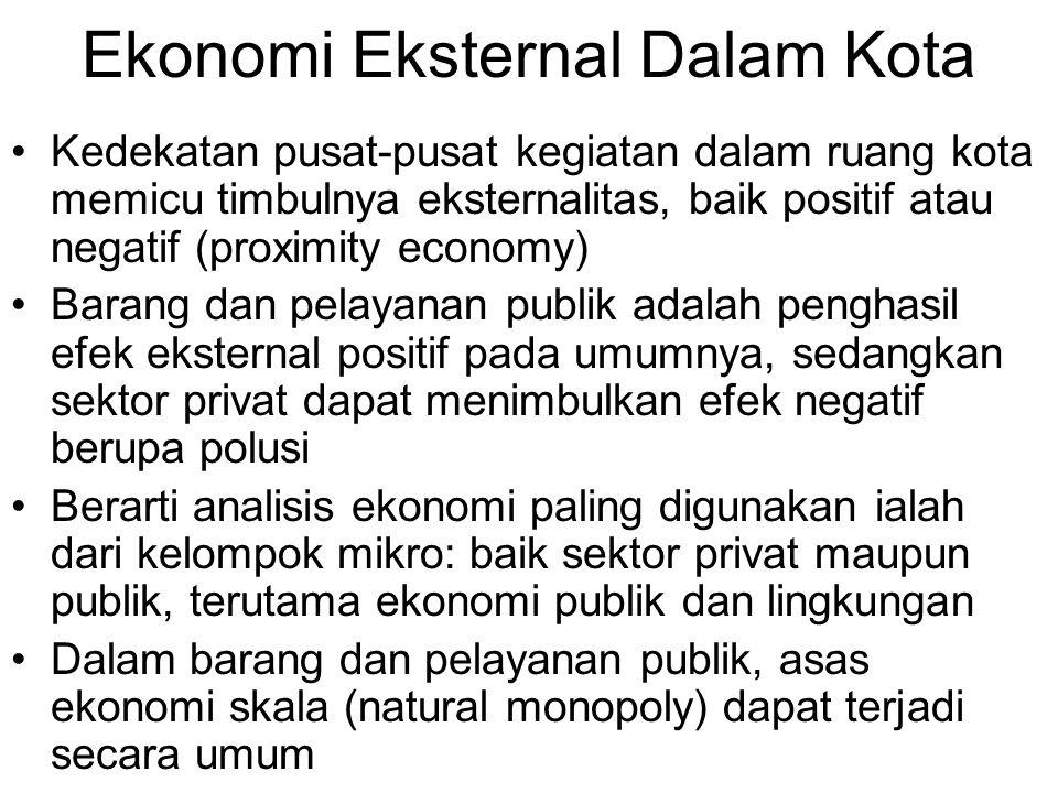 Ekonomi Eksternal Dalam Kota Kedekatan pusat-pusat kegiatan dalam ruang kota memicu timbulnya eksternalitas, baik positif atau negatif (proximity econ