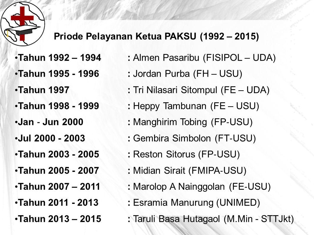 Priode Pelayanan Ketua PAKSU (1992 – 2015) Tahun 1992 – 1994: Almen Pasaribu (FISIPOL – UDA) Tahun 1995 - 1996 : Jordan Purba (FH – USU) Tahun 1997 :