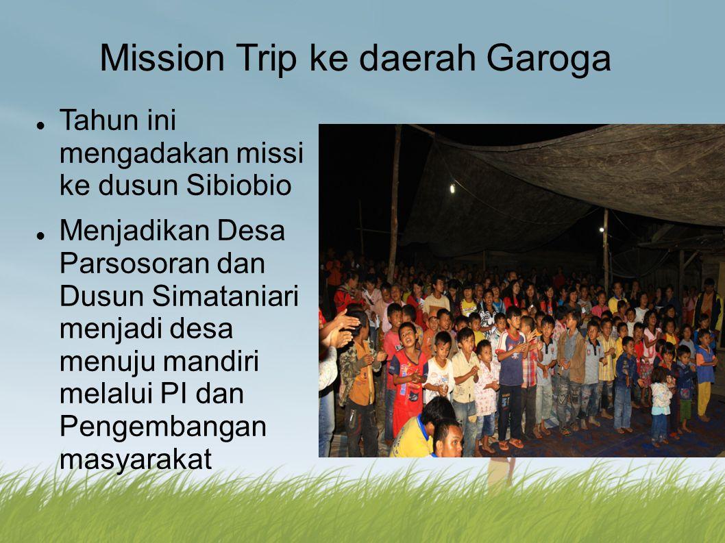 Mission Trip ke daerah Garoga Tahun ini mengadakan missi ke dusun Sibiobio Menjadikan Desa Parsosoran dan Dusun Simataniari menjadi desa menuju mandir