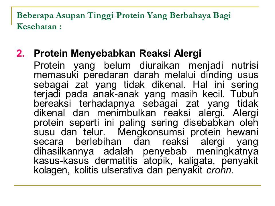 2.Protein Menyebabkan Reaksi Alergi Protein yang belum diuraikan menjadi nutrisi memasuki peredaran darah melalui dinding usus sebagai zat yang tidak