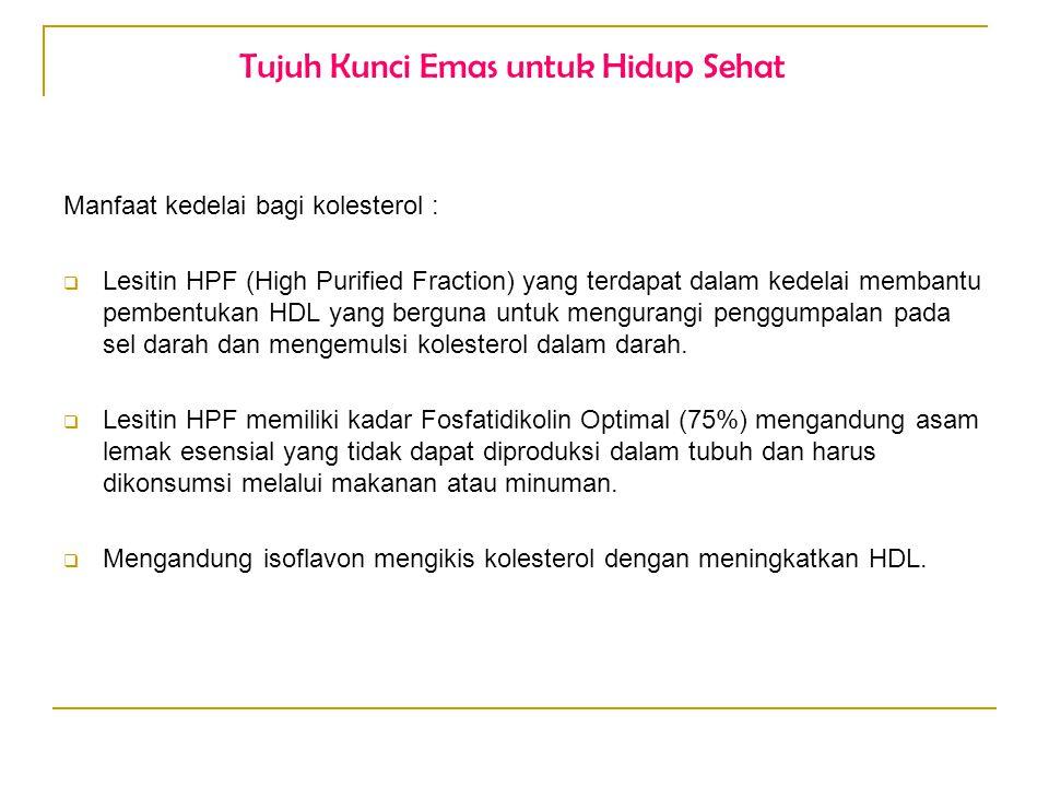 Manfaat kedelai bagi kolesterol :  Lesitin HPF (High Purified Fraction) yang terdapat dalam kedelai membantu pembentukan HDL yang berguna untuk mengu