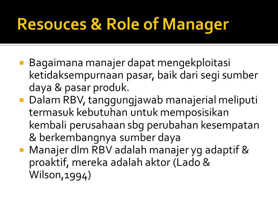  Bagaimana manajer dapat mengekploitasi ketidaksempurnaan pasar, baik dari segi sumber daya & pasar produk.  Dalam RBV, tanggungjawab manajerial mel