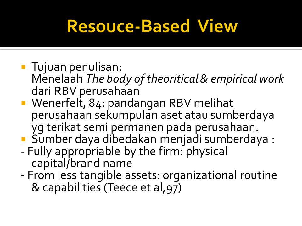  Tujuan penulisan: Menelaah The body of theoritical & empirical work dari RBV perusahaan  Wenerfelt, 84: pandangan RBV melihat perusahaan sekumpulan