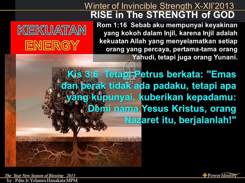 The Year New Season of Blessing 2013 Power Identity by : Pdm.Ir.Yohanes Hanakata MPM RISE in The STRENGTH of GOD RISE in The STRENGTH of GOD Winter of Invincible Strength X-XII'2013 STRENGTH of IMAGE, kej 1:27, yoh.9:3 Kis 3:2 Di situ ada seorang laki-laki, yang lumpuh sejak lahirnya sehingga ia harus diusung.