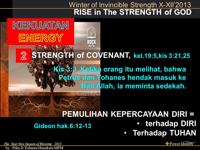 The Year New Season of Blessing 2013 Power Identity by : Pdm.Ir.Yohanes Hanakata MPM RISE in The STRENGTH of GOD RISE in The STRENGTH of GOD Winter of Invincible Strength X-XII'2013 STRENGTH of INSPIRATION, 2 Raj.2:10.
