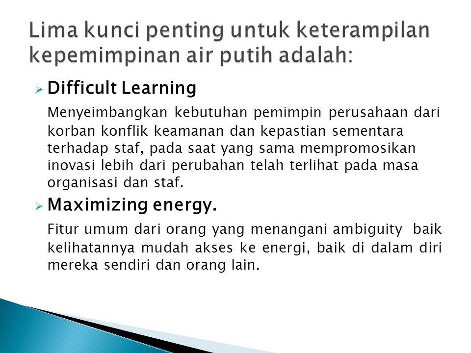  Difficult Learning Menyeimbangkan kebutuhan pemimpin perusahaan dari korban konflik keamanan dan kepastian sementara terhadap staf, pada saat yang s