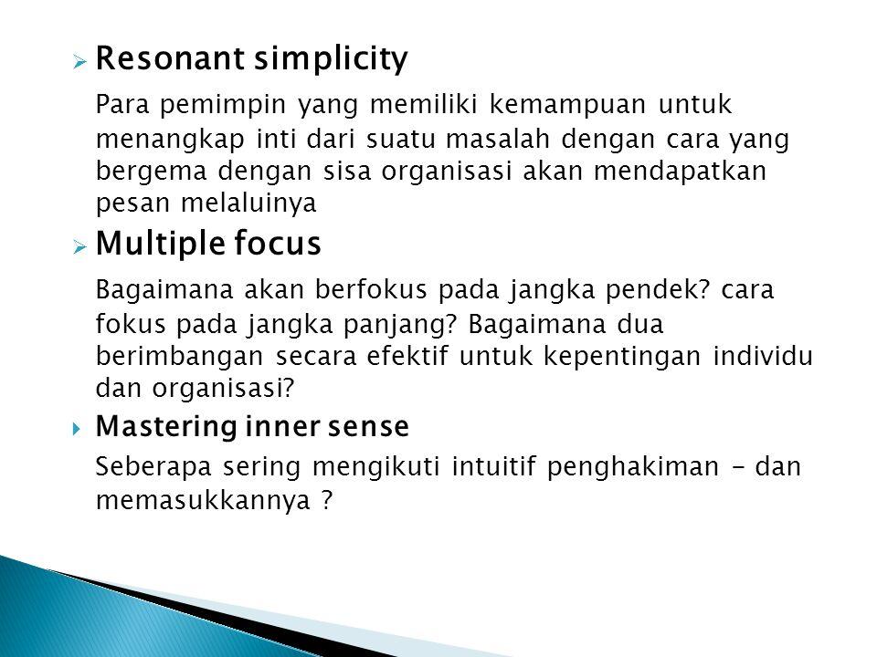  Resonant simplicity Para pemimpin yang memiliki kemampuan untuk menangkap inti dari suatu masalah dengan cara yang bergema dengan sisa organisasi ak