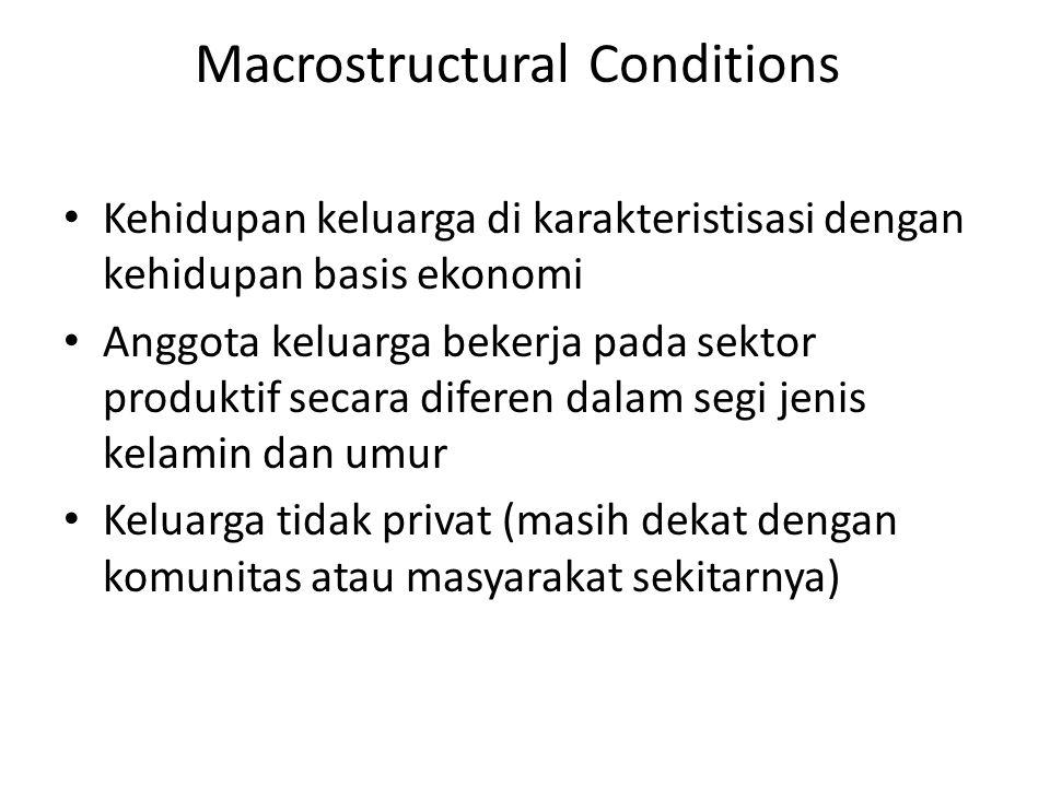 Macrostructural Conditions Kehidupan keluarga di karakteristisasi dengan kehidupan basis ekonomi Anggota keluarga bekerja pada sektor produktif secara diferen dalam segi jenis kelamin dan umur Keluarga tidak privat (masih dekat dengan komunitas atau masyarakat sekitarnya)