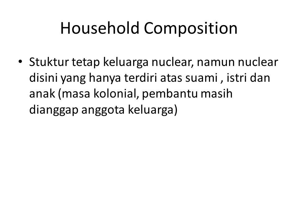Household Composition Stuktur tetap keluarga nuclear, namun nuclear disini yang hanya terdiri atas suami, istri dan anak (masa kolonial, pembantu masih dianggap anggota keluarga)