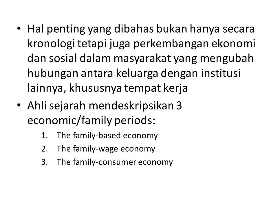Hal penting yang dibahas bukan hanya secara kronologi tetapi juga perkembangan ekonomi dan sosial dalam masyarakat yang mengubah hubungan antara keluarga dengan institusi lainnya, khususnya tempat kerja Ahli sejarah mendeskripsikan 3 economic/family periods: 1.The family-based economy 2.The family-wage economy 3.The family-consumer economy
