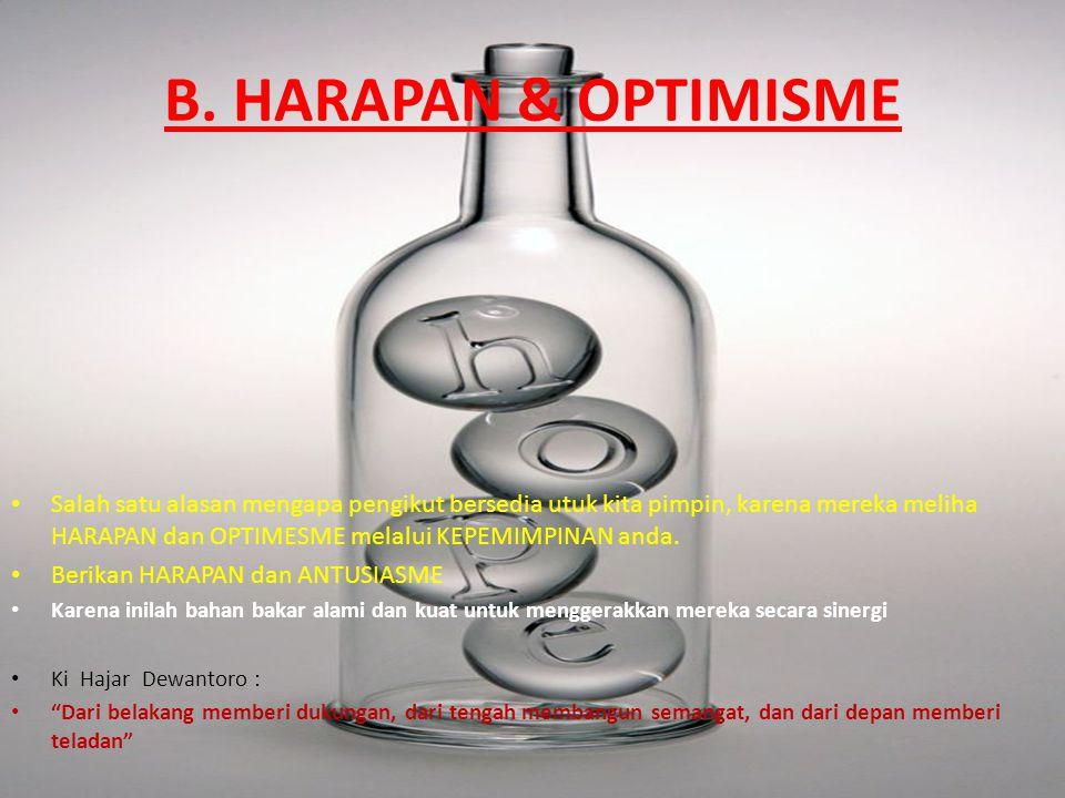 B. HARAPAN & OPTIMISME Salah satu alasan mengapa pengikut bersedia utuk kita pimpin, karena mereka meliha HARAPAN dan OPTIMESME melalui KEPEMIMPINAN a