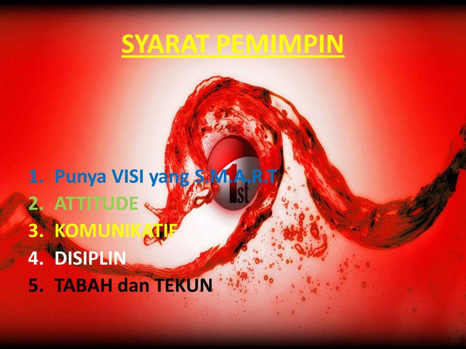 SYARAT PEMIMPIN 1.Punya VISI yang S.M.A.R.T 2.ATTITUDE 3.KOMUNIKATIF 4.DISIPLIN 5.TABAH dan TEKUN