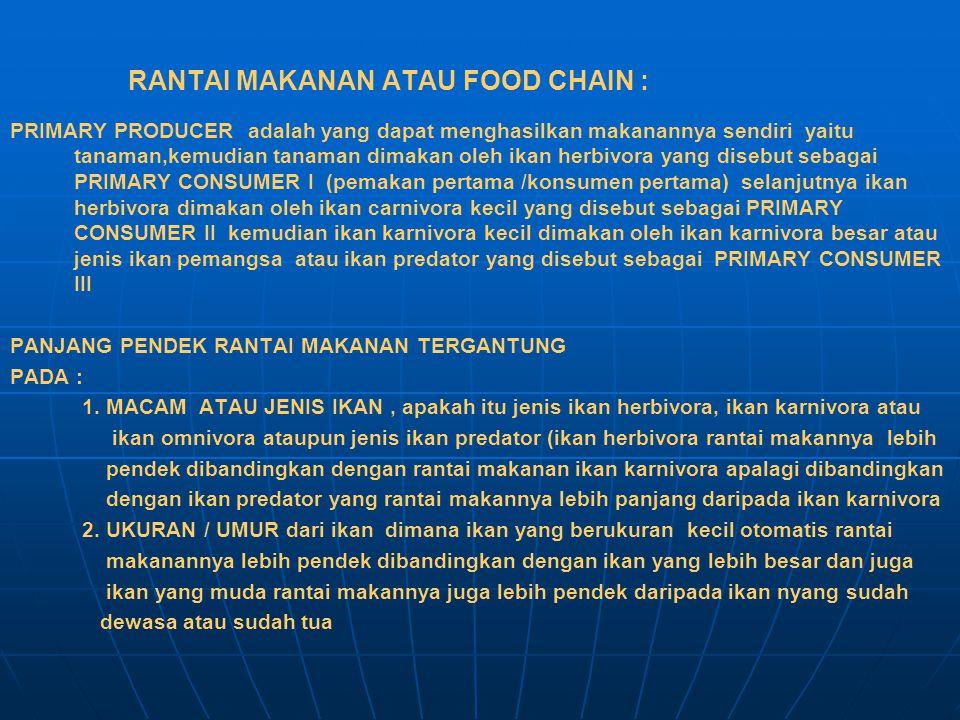 RANTAI MAKANAN ATAU FOOD CHAIN : PRIMARY PRODUCER adalah yang dapat menghasilkan makanannya sendiri yaitu tanaman,kemudian tanaman dimakan oleh ikan h