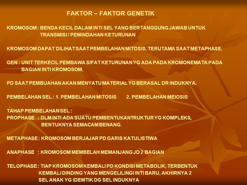 FAKTOR – FAKTOR GENETIK KROMOSOM : BENDA KECIL DALAM INTI SEL YANG BERTANGGUNG JAWAB UNTUK TRANSMISI / PEMINDAHAN KETURUNAN KROMOSOM DAPAT DILIHAT SAAT PEMBELAHAN MITOSIS, TERUTAMA SAAT METAPHASE.