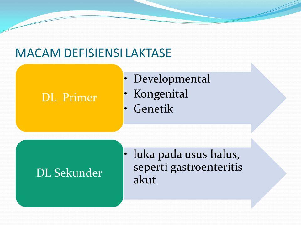 MACAM DEFISIENSI LAKTASE Developmental Kongenital Genetik DL Primer luka pada usus halus, seperti gastroenteritis akut DL Sekunder