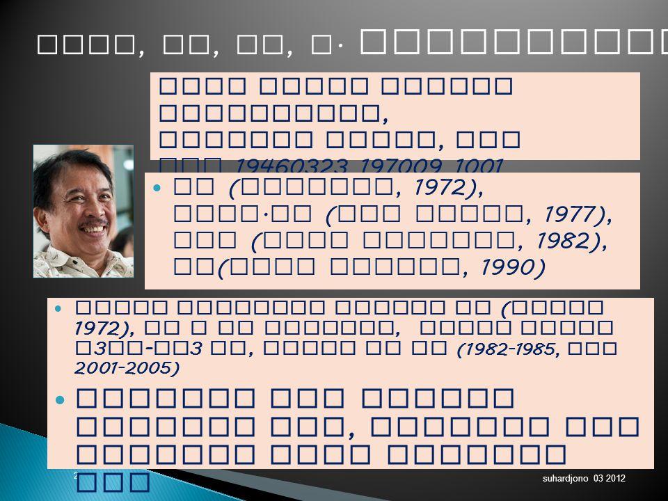 suhardjono 03 2012 2 Guru besar Metode Penelitian, Pembina Utama, IVe NIP 19460323 197009 1001 Ir ( Unibraw, 1972), Dipl.