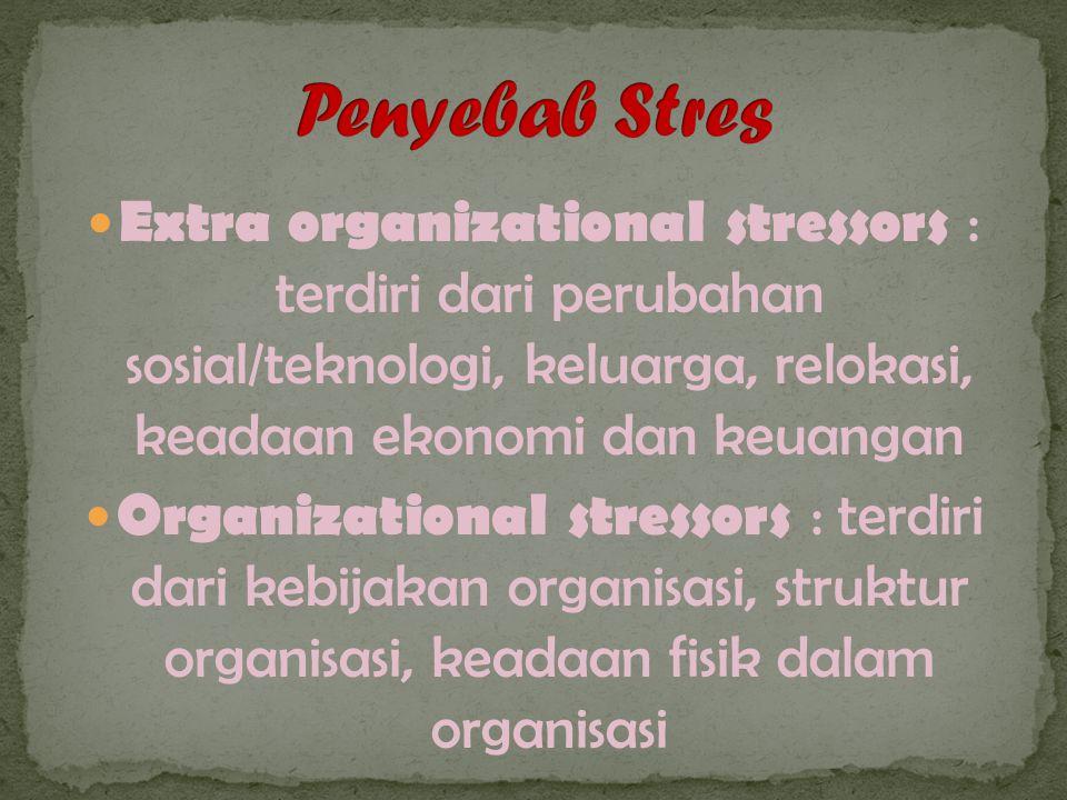 Extra organizational stressors : terdiri dari perubahan sosial/teknologi, keluarga, relokasi, keadaan ekonomi dan keuangan Organizational stressors : terdiri dari kebijakan organisasi, struktur organisasi, keadaan fisik dalam organisasi