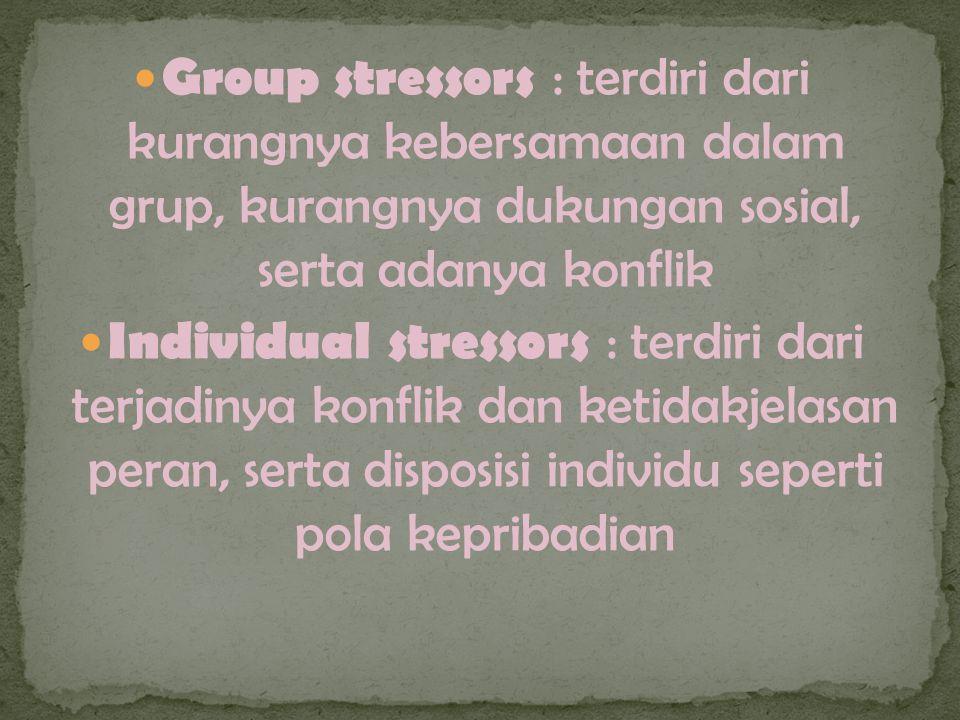 Group stressors : terdiri dari kurangnya kebersamaan dalam grup, kurangnya dukungan sosial, serta adanya konflik Individual stressors : terdiri dari terjadinya konflik dan ketidakjelasan peran, serta disposisi individu seperti pola kepribadian