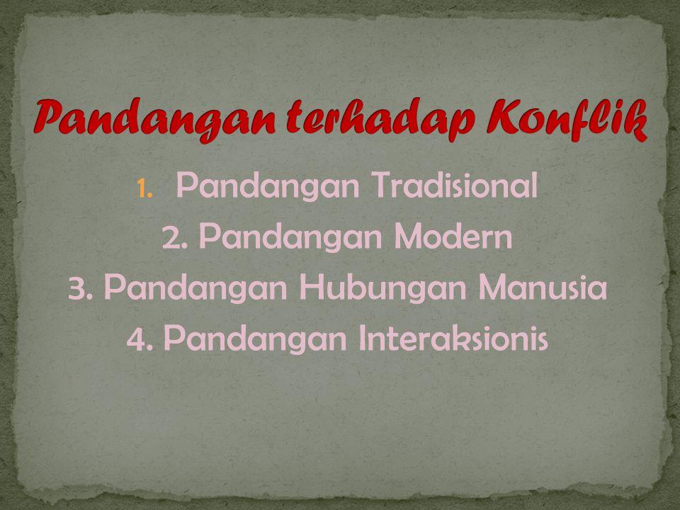 1. Pandangan Tradisional 2. Pandangan Modern 3. Pandangan Hubungan Manusia 4.