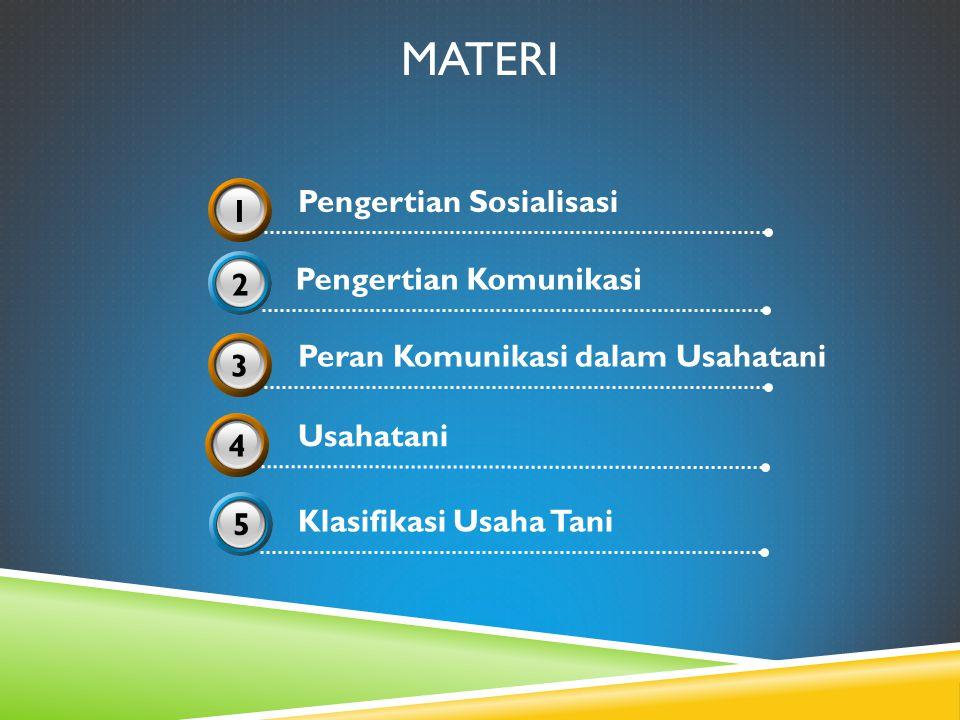 MATERI Pengertian Komunikasi 2 Klasifikasi Usaha Tani 5 Pengertian Sosialisasi 31 Usahatani 34 Peran Komunikasi dalam Usahatani 33