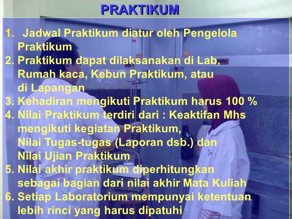 16 PRAKTIKUM 1. Jadwal Praktikum diatur oleh Pengelola Praktikum 2. Praktikum dapat dilaksanakan di Lab, Rumah kaca, Kebun Praktikum, atau di Lapangan