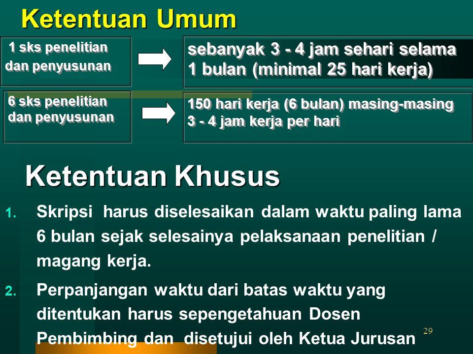 29 Ketentuan Umum 1 sks penelitian dan penyusunan sebanyak 3 ‑ 4 jam sehari selama 1 bulan (minimal 25 hari kerja) 6 sks penelitian dan penyusunan 150