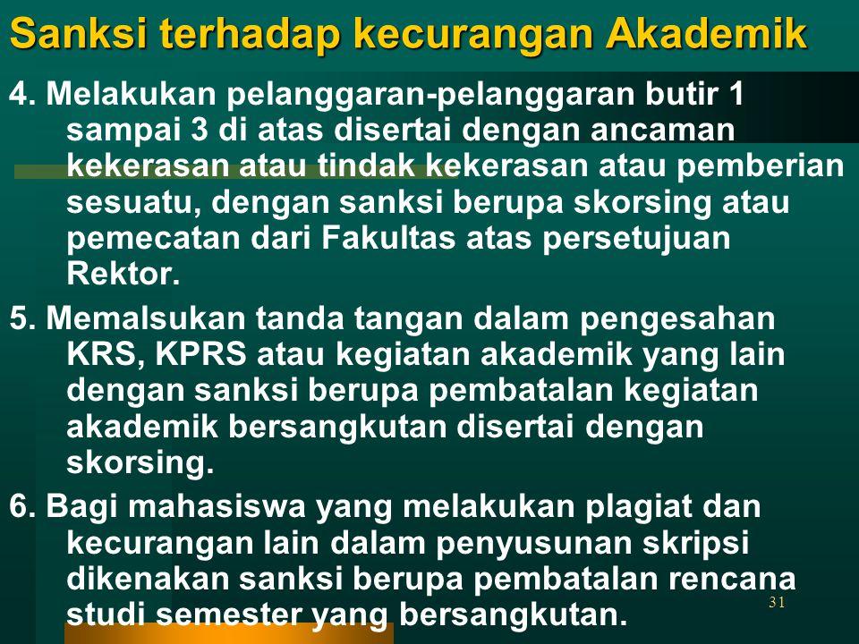 31 Sanksi terhadap kecurangan Akademik 4. Melakukan pelanggaran-pelanggaran butir 1 sampai 3 di atas disertai dengan ancaman kekerasan atau tindak kek