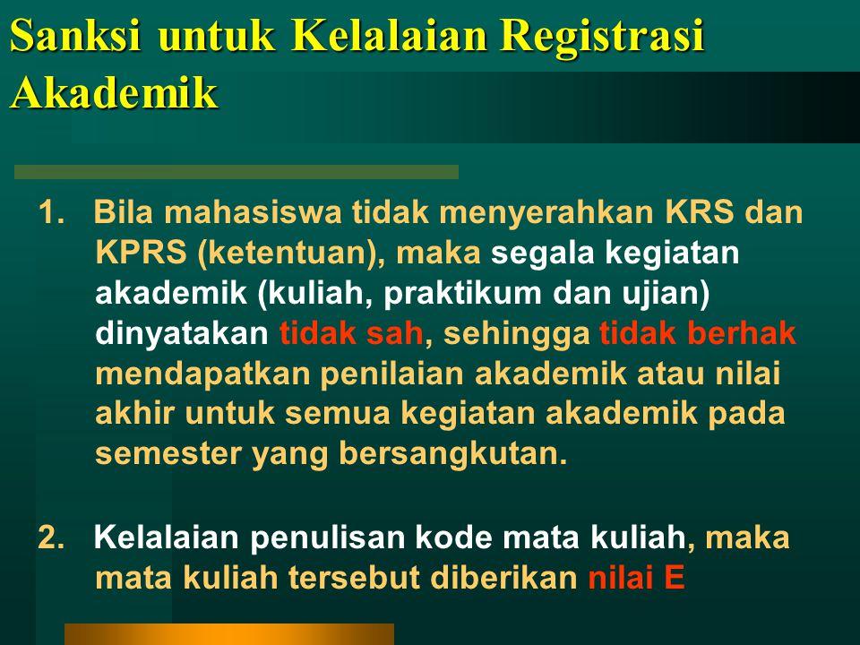 PEMBATALAN MATAKULIAH Pembatalan MK dimungkinkan maksimal minggu ke-6 setelah kuliah berlangsung MK yang dibatalkan tanpa menambah beban kredit yang telah ditentukan Pembatalan harus disyahkan oleh Dosen PA Hanya dapat membatalkan, tetapi tidak dapat menambah MK Mata kuliah yang telah tercantum dalam Kartu Hasil Studi (KHS), baik yang harus diulang maupun yang tidak dapat diulang, tidak dapat dibatalkan Kelambatan waktu tidak dilayani MK yang dibatalkan tanpa menambah beban kredit yang telah ditentukan Pembatalan harus disyahkan oleh Dosen PA Hanya dapat membatalkan, tetapi tidak dapat menambah MK Mata kuliah yang telah tercantum dalam Kartu Hasil Studi (KHS), baik yang harus diulang maupun yang tidak dapat diulang, tidak dapat dibatalkan Kelambatan waktu tidak dilayani KETENTUAN