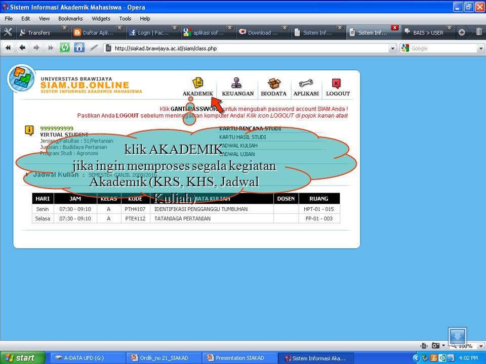 klik KARTU HASIL STUDI jika ingin melihat KHS