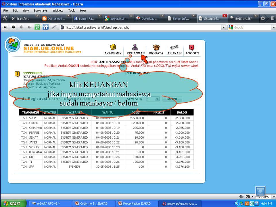 klik AKADEMIK jika ingin memproses segala kegiatan Akademik (KRS, KHS, Jadwal Kuliah)