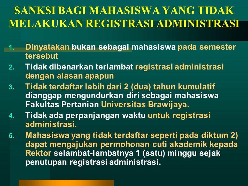 SANKSI BAGI MAHASISWA YANG TIDAK MELAKUKAN REGISTRASI ADMINISTRASI 1.