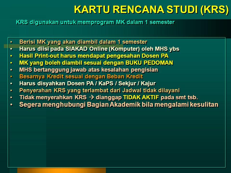 Setelah semua MK terprogram, lalu cetak form KRS & Jadwal kuliah