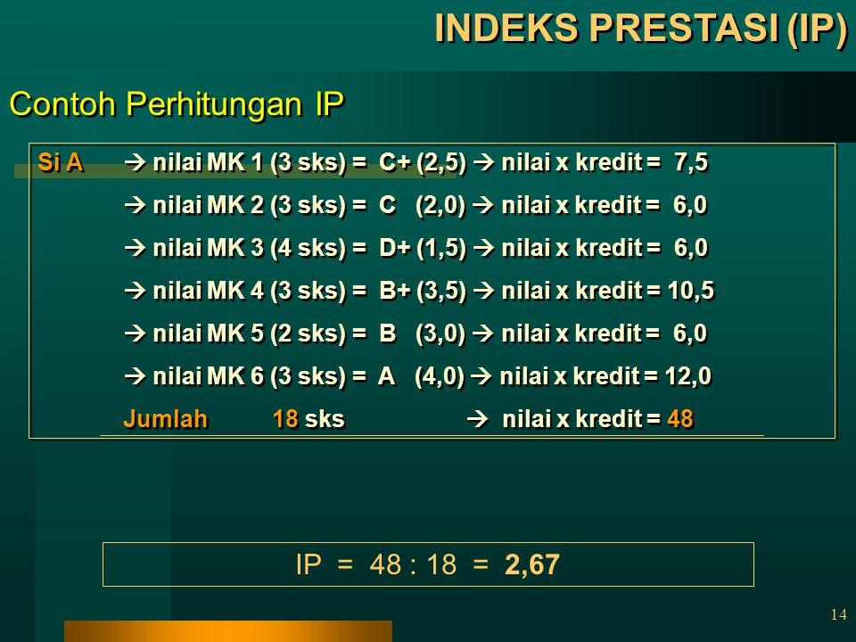 13 INDEKS PRESTASI (IP) IP digunakan untuk menghitung besarnya nilai rata-rata dari kegiatan akademik dalam 1 SMT Nilai IP berkisar dari 0,00 – 4,00 I