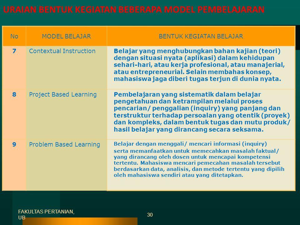 FAKULTAS PERTANIAN, UB 29 NoMODEL BELAJARBENTUK KEGIATAN BELAJAR 4 Self-Directed Learning Perencanaan belajar, pelaksanaan, dan penilaian terhadap pen