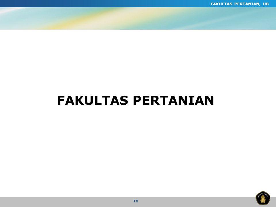 FAKULTAS PERTANIAN, UB 10 FAKULTAS PERTANIAN