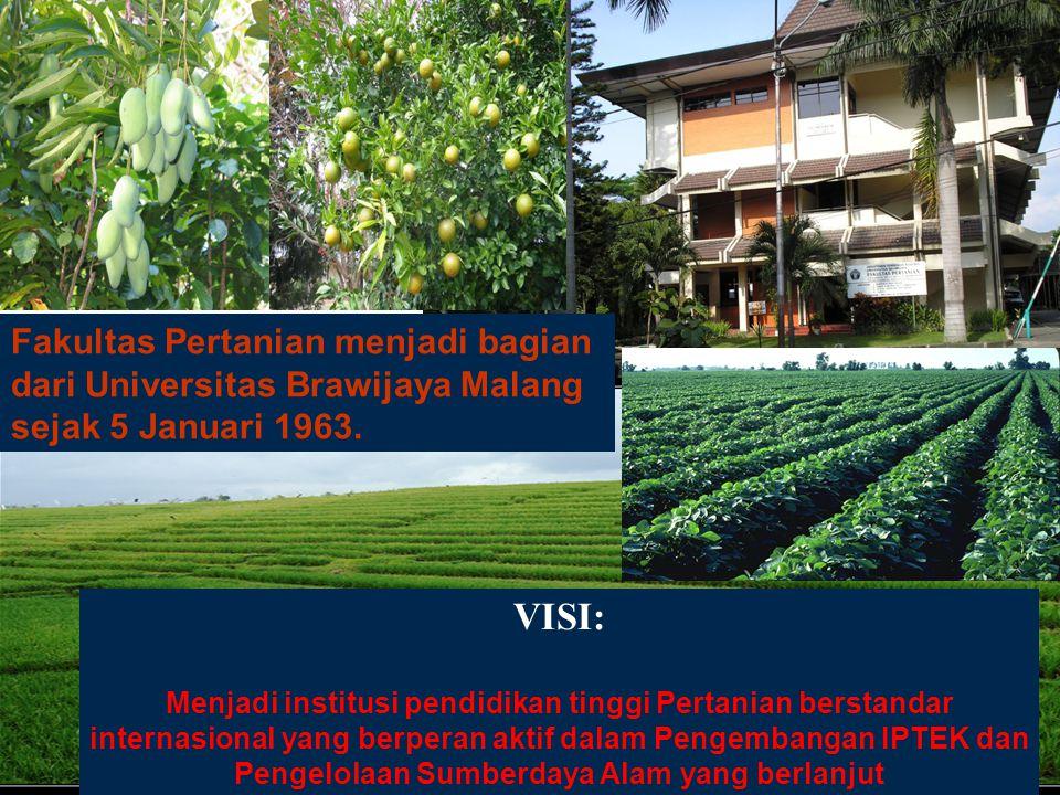 FAKULTAS PERTANIAN, UB 14 VISI: Menjadi institusi pendidikan tinggi Pertanian berstandar internasional yang berperan aktif dalam Pengembangan IPTEK da