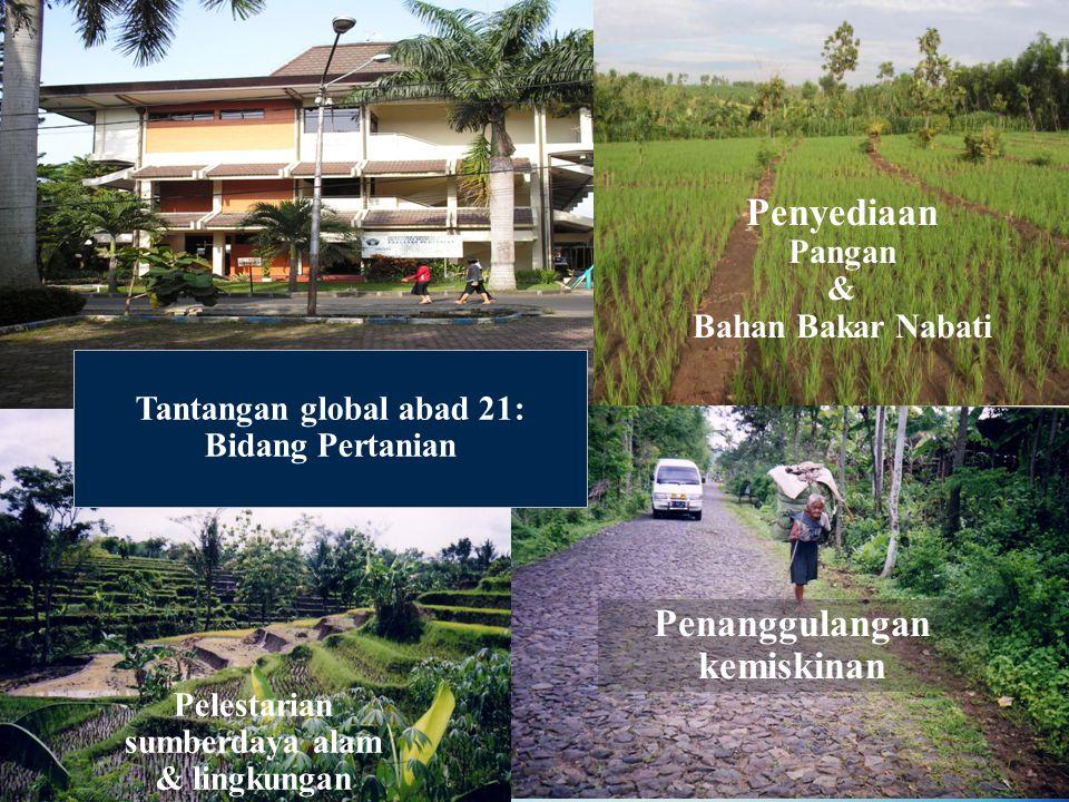 Tantangan global abad 21: Bidang Pertanian Penanggulangan kemiskinan Penyediaan Pangan & Bahan Bakar Nabati Pelestarian sumberdaya alam & lingkungan