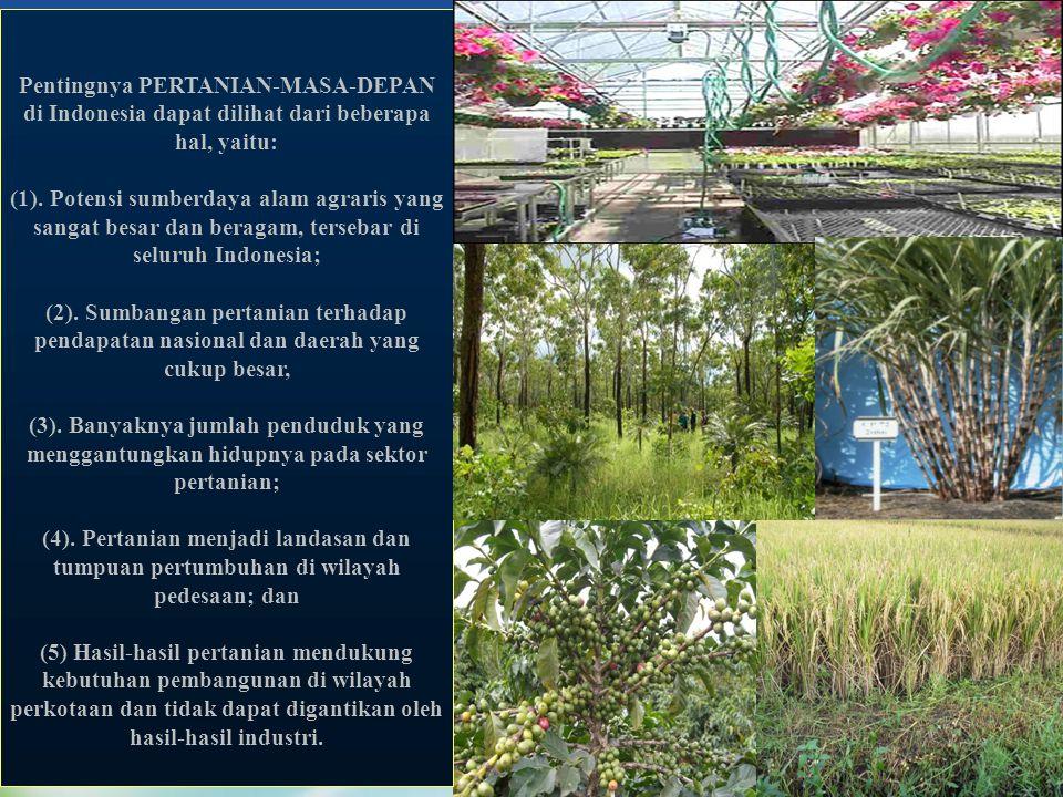 Pentingnya PERTANIAN-MASA-DEPAN di Indonesia dapat dilihat dari beberapa hal, yaitu: (1). Potensi sumberdaya alam agraris yang sangat besar dan beraga