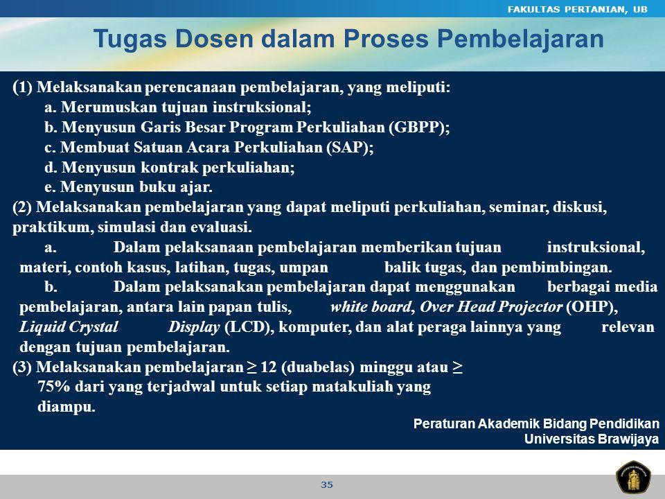 FAKULTAS PERTANIAN, UB 35 ( 1) Melaksanakan perencanaan pembelajaran, yang meliputi: a. Merumuskan tujuan instruksional; b. Menyusun Garis Besar Progr